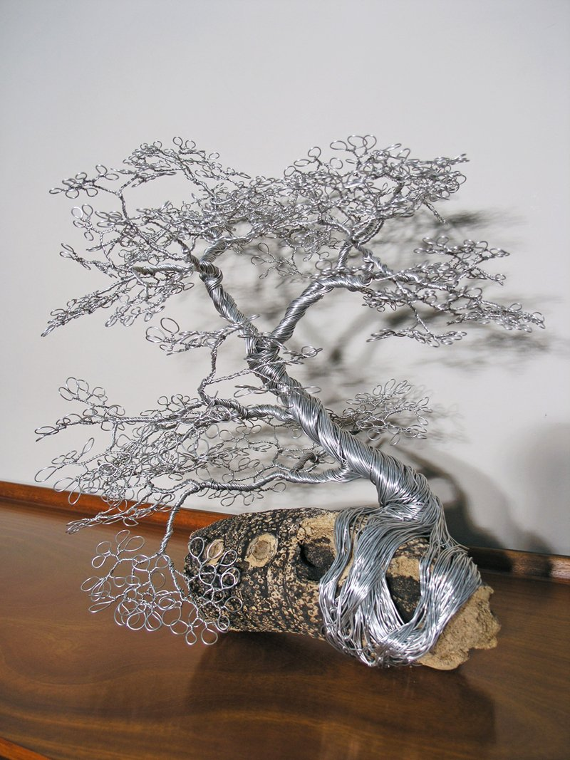 Wire Tree on Bamboo Root