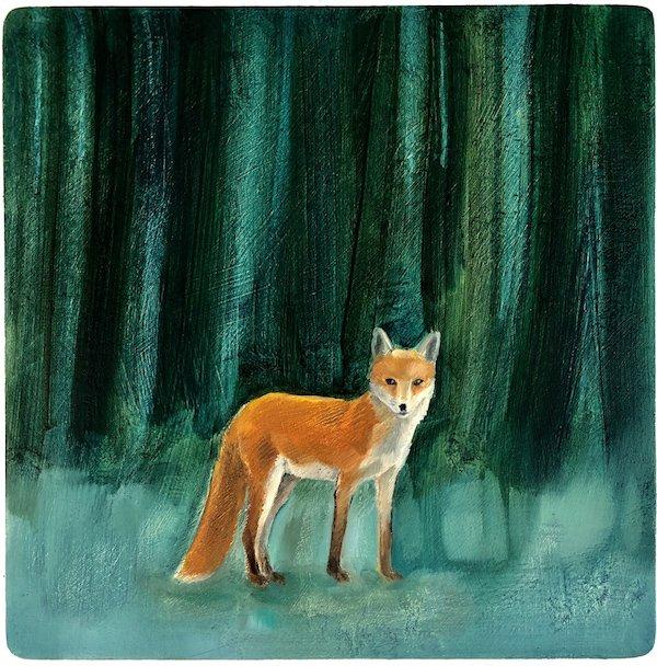 Fox Before Indigo Trees