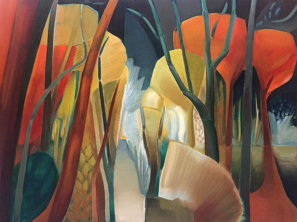 lindsey-hambleton-Midnight-garden-red-trees