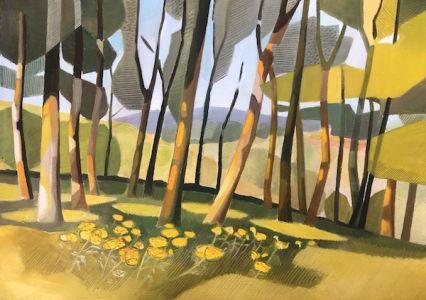 Lindsey Hambleton artist original oil painting ragwort wood